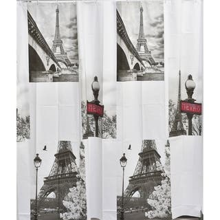 Evideco Bathroom Printed Peva Liner Shower Curtain Paris City