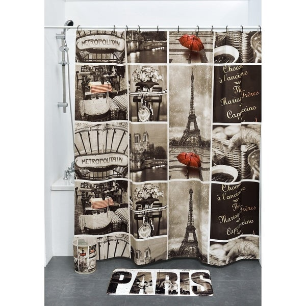 Evideco Bathroom Printed Shower Curtain Cafe Paris Peva