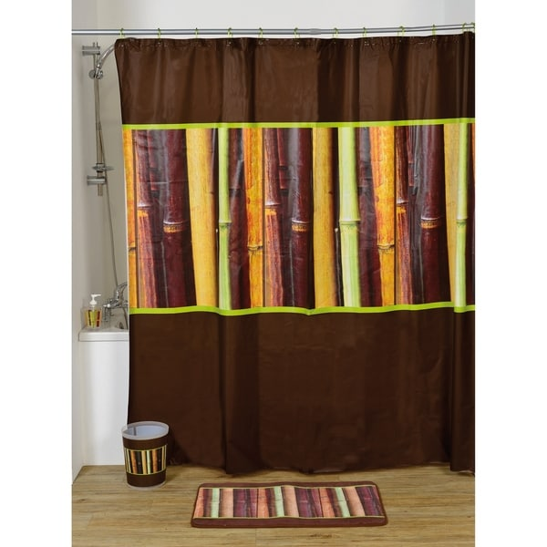 Evideco Bathroom Printed Peva Shower Curtain Java