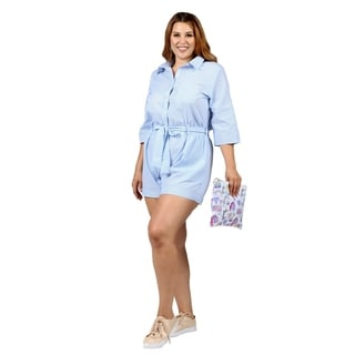 Xehar Womens Plus Size Casual Belted Short Romper Playsuit