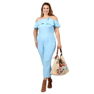 Xehar Womens Plus Size Casual Ruffle Long Pants Romper Jumpsuit