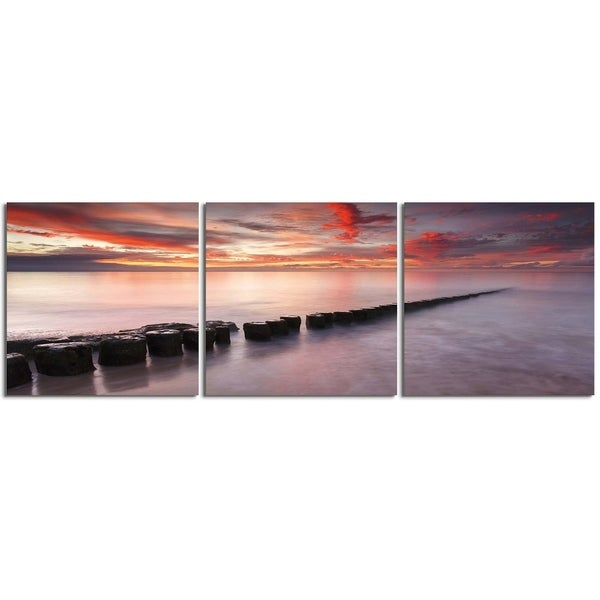 "Elementem Photography: ""Along the Pier # 1"" Photography Print 3-Panel Panoramic Wall Art"