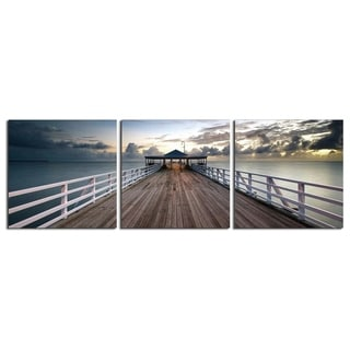 "Elementem Photography: ""Brisbane Pier"" Photography Print 3-Panel Panoramic Wall Art"