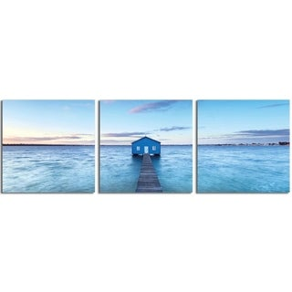 """Elementem Photography: """"Boathouse on the River"""" Photography Print 3-Panel Panoramic Wall Art"""