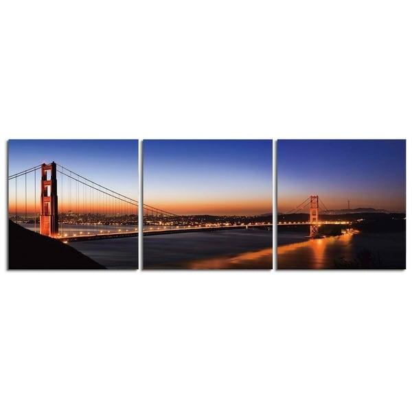 "Elementem Photography: ""Amber Lights"" Photography Print 3-Panel Panoramic Wall Art"
