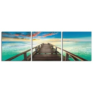 "Elementem Photography: ""Bright Pier"" Photography Print 3-Panel Panoramic Wall Art"
