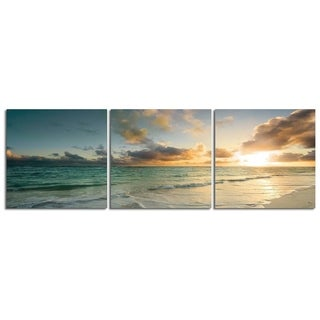 "Elementem Photography: ""Ocean Calm"" Photography Print 3-Panel Panoramic Wall Art"