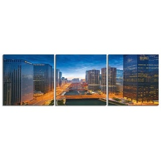 """Elementem Photography: """"Chicago River Bend"""" Photography Print 3-Panel Panoramic Wall Art"""