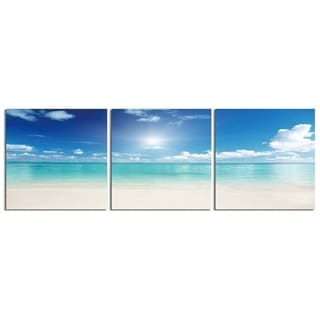 "Elementem Photography: ""Clear Ocean # 2"" Photography Print 3-Panel Panoramic Wall Art"
