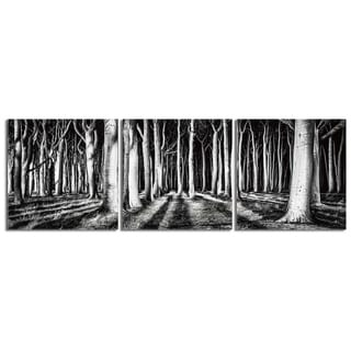 "Elementem Photography: ""Black and White Forest"" Photography Print 3-Panel Panoramic Wall Art"