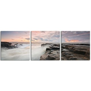 "Elementem Photography: ""Monknash Beach"" Photography Print 3-Panel Panoramic Wall Art"