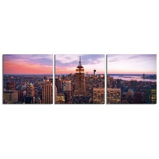 "Elementem Photography: ""Manhattan Sunset"" Photography Print 3-Panel Panoramic Wall Art"