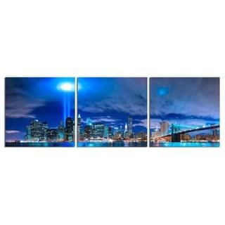 "Elementem Photography: ""New York City: World Trade Center Lights"" Photography Print 3-Panel Panoramic Wall Art"