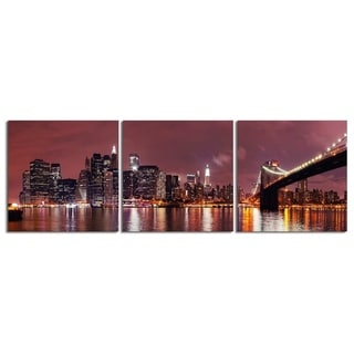 """Elementem Photography: """"Twilight on the East River"""" Photography Print 3-Panel Panoramic Wall Art"""