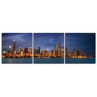 "Elementem Photography: ""Navy Sky"" Photography Print 3-Panel Panoramic Wall Art"