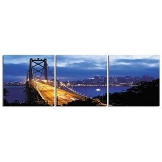 "Elementem Photography: ""Golden Lights"" Photography Print 3-Panel Panoramic Wall Art"
