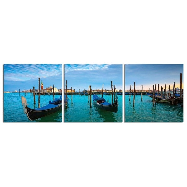 "Elementem Photography: ""Sunset on Venetian Gondolas"" Photography Print 3-Panel Panoramic Wall Art"