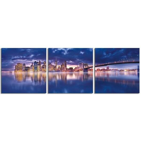 "Elementem Photography: ""New York Haze"" Photography Print 3-Panel Panoramic Wall Art"