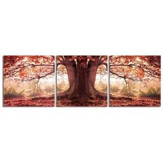 "Elementem Photography: ""Oak Tree in Autumn"" Photography Print 3-Panel Panoramic Wall Art"