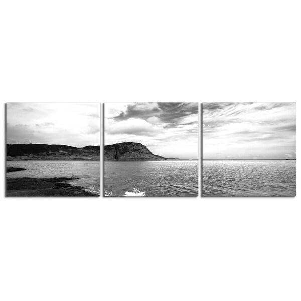 "Elementem Photography: ""Hudson River Bend (Black & White)"" Photography Print 3-Panel Panoramic Wall Art"