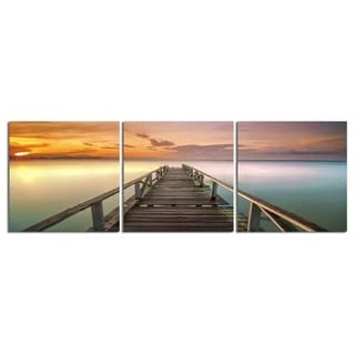 "Elementem Photography: ""Pier in Pastels"" Photography Print 3-Panel Panoramic Wall Art"