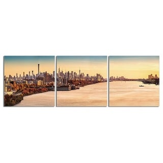 "Elementem Photography: ""Peach Bay-Hudson River"" Photography Print 3-Panel Panoramic Wall Art"