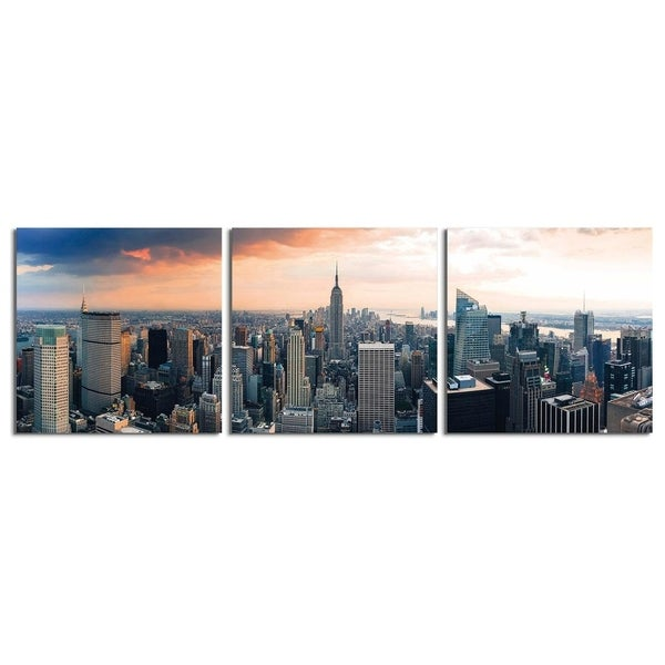 "Elementem Photography: ""Empire State at Sunset"" Photography Print 3-Panel Panoramic Wall Art"