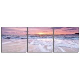 "Elementem Photography: ""Sunset Beach"" Photography Print 3-Panel Panoramic Wall Art"