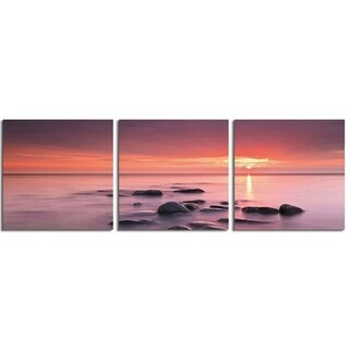"Elementem Photography: ""Pink Sunset on Rocks"" Photography Print 3-Panel Panoramic Wall Art"