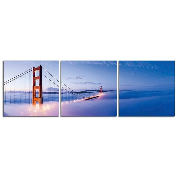 "Elementem Photography: ""San Francisco Bay"" Photography Print 3-Panel Panoramic Wall Art"