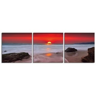 "Elementem Photography: ""Red Sunset"" Photography Print 3-Panel Panoramic Wall Art"