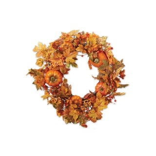 Fall Leaves and Pumpkins Wreath