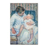Cassatt 'Mother About To Wash Her Sleepy Child' Canvas Art