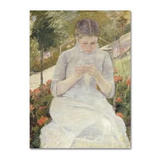 Cassatt 'Girl In The Garden' Canvas Art