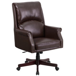 CEO Pillow Back Executive Brown Leather Adjustable Swivel Office Chair with Mahogany Wood Base