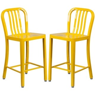 Veronica Slat Back Design Yellow Metal Counter Stools (2 options available)