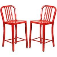 Veronica Slat Back Design Red Metal Counter Stools