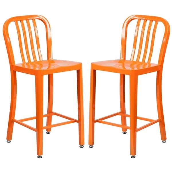 Shop Veronica Slat Back Design Orange Metal Counter Stools