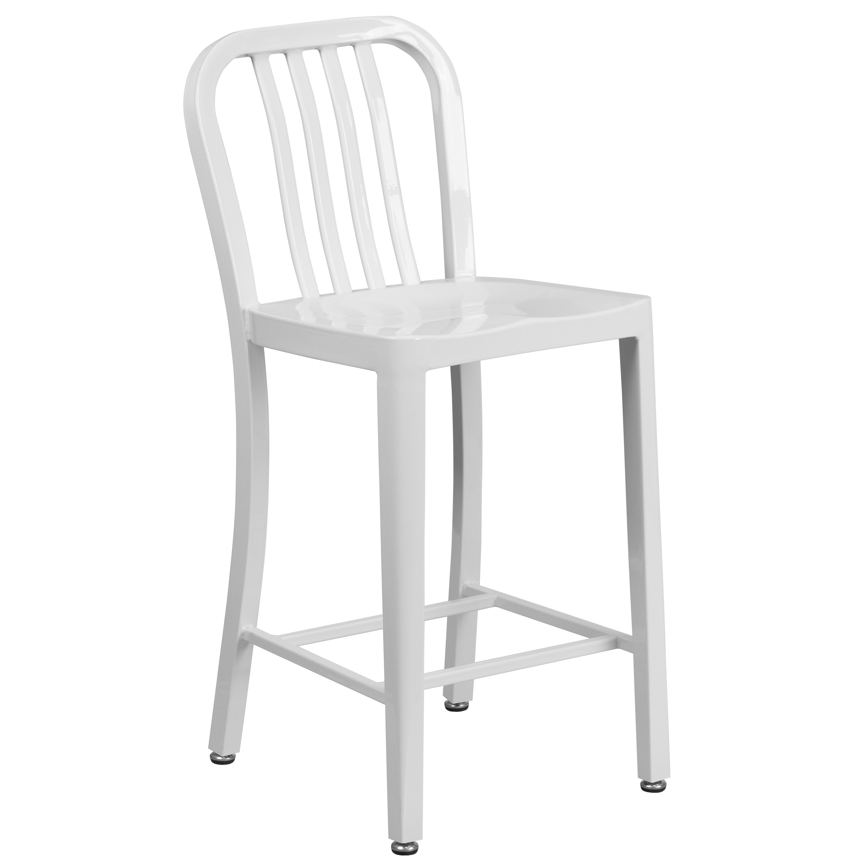Amazing Veronica Slat Back Design White Metal Counter Stools Pabps2019 Chair Design Images Pabps2019Com