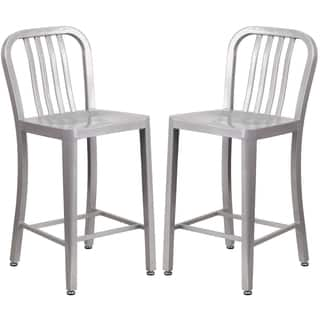 Carbon Loft Contemporary Silver Metal Counter Stools Set