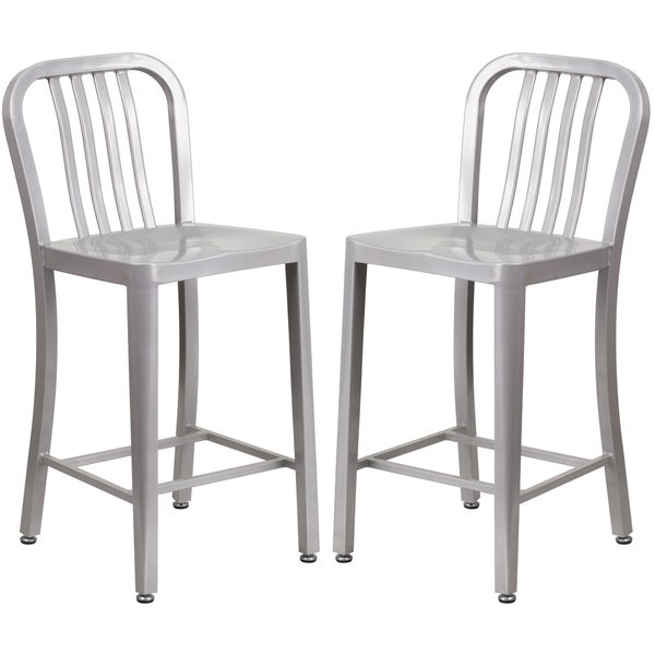 Veronica Slat Back Design Silver Metal Counter Stools