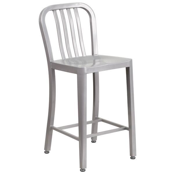Peachy Shop Veronica Slat Back Design Silver Metal Counter Stools Alphanode Cool Chair Designs And Ideas Alphanodeonline