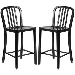 Veronica Slat Back Design Black Metal Counter Stools