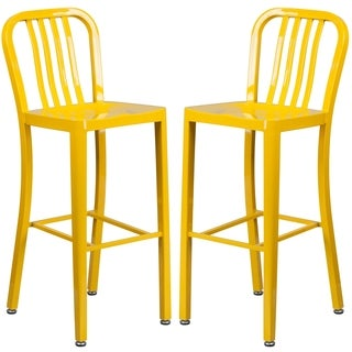 Veronica Slatt Back Design Yellow Metal Barstools (2 options available)