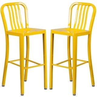 Veronica Slatt Back Design Yellow Metal Barstools