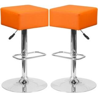 Cubic Design Orange Swivel Adjustable Barstools