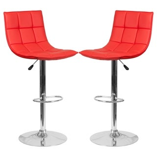 Roxy Quilted Design Red Adjustable Swivel Barstool