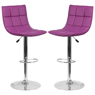 Roxy Quilted Design Purple Adjustable Swivel Barstool