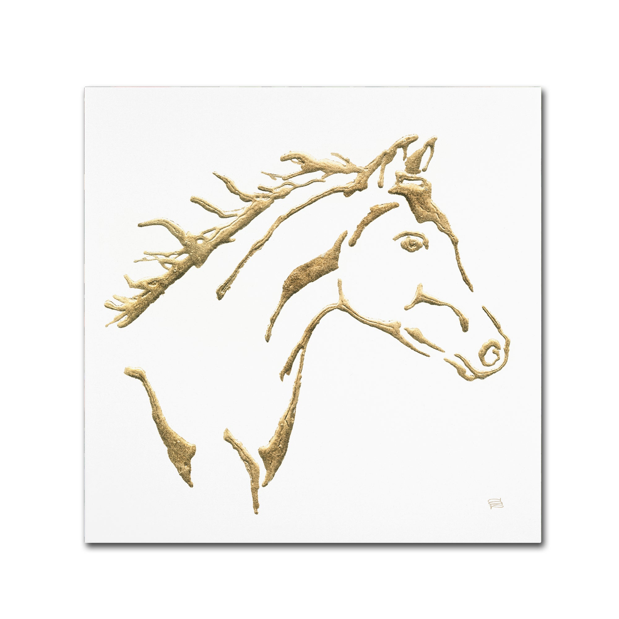 30 x 30 Gilded Filly on White Canvas Artwork Global Gallery Chris Paschke