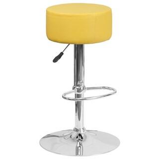 Popmoda Round Upholstered Yellow Swivel Adjustable Barstool